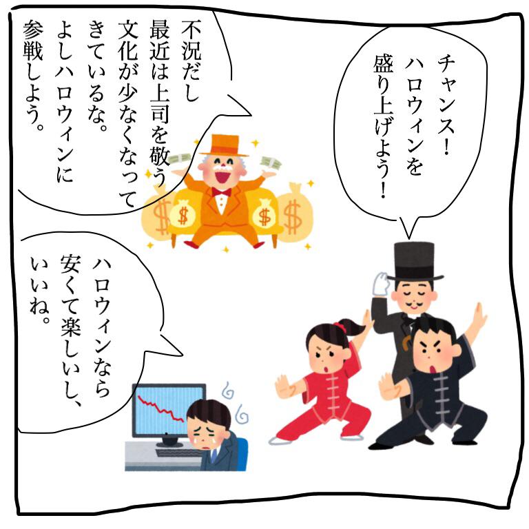 もともとハロウィンに力を入れていた企業とボスデーキャンペーンが失敗した企業、不況で安い娯楽を楽しみを探している消費者のニーズがマッチしてハロウィンは日本中に広まっていきます。
